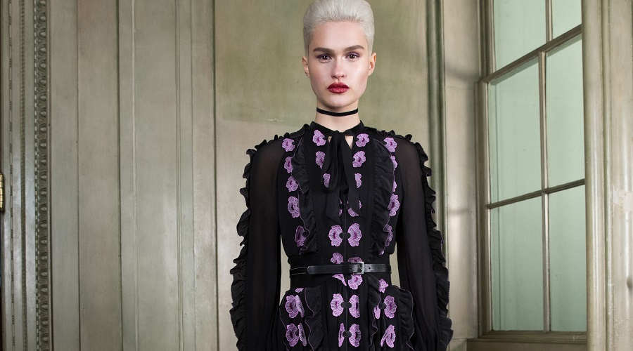 a black dress with purple detailing from Temperley London